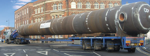 An industrial pressure vessel in transit